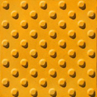 Тактильная тротуарная плитка 300x300x50 конусообразными рифами желтая