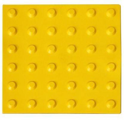 Тактильная тротуарная плитка 500x500x50 с конусообразными рифами в линейном порядке желтая