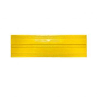 Тактильная тротуарная плитка 180x500x50 с продольными рифами в линейном порядке желтая
