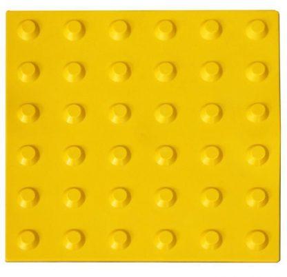 Тактильная тротуарная плитка 300x300x50 с конусообразными рифами в линейном порядке желтая