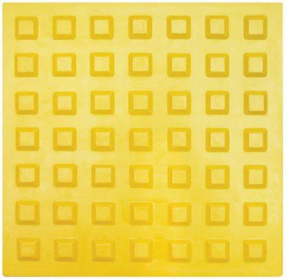 Тактильная тротуарная плитка 300x300x50 с квадратными рифами желтая