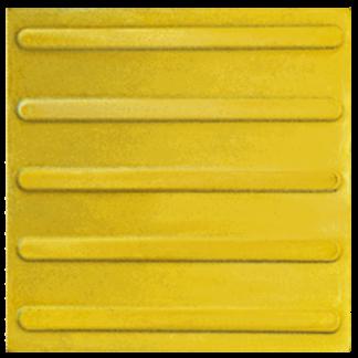 Тактильная тротуарная плитка 500x500x50 с продольными рифами желтая