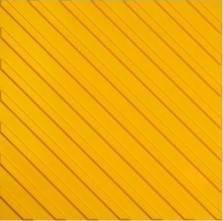Тактильная тротуарная плитка 500x500x50 с диагональными рифами желтая