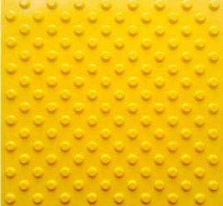 Тактильная тротуарная плитка 500x500x50 с конусообразными рифами желтая